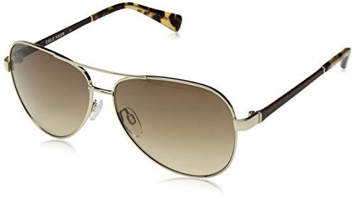 Cole Haan Women's Ch7000 Metal Aviator Sunglasses, Gold, 59 - Cole Sunglasses Aviator Haan