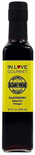 In Love Gourmet Raspberry Balsamic Vinegar 250ML/8.5oz Great Drizzled on Veggie and Fruit Salads, Pairs Well with our Lemon Infused Olive Oil as a Vinaigrette