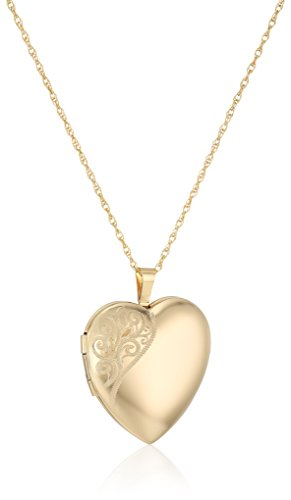 14k Gold-Filled Large Satin and Polished Finish Hand Engraved Heart Shaped Locket Necklace, 18