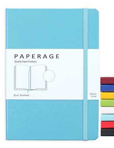 Paperage Journal Blank Page Notebook, Hard Cover, Medium 5.7 x 8 inches, 100 gsm Thick Paper (Blue, Plain)