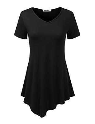 Doublju Womens Short Sleeve Asymmetrical Hem Tunic Shirt with Plus Sizes