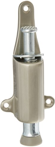 Rockwood 459.15 Brass Spring Loaded Plunger Stop, 8 X 3/4'' OH SMS Fastener, 1-7/8'' Projection, 1-3/8'' Base Width x 5-3/8'' Base Length, Satin Nickel Plated Clear Coated Finish by Rockwood