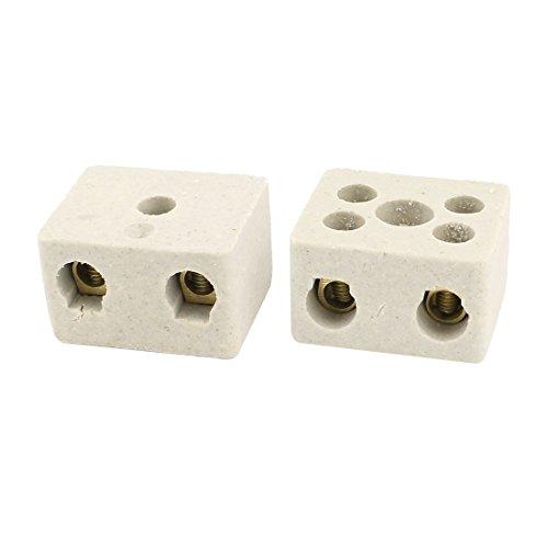 High Temp Ceramics (uxcell 2Pcs Insulation High Temp Porcelain Ceramic Terminal Block AC 380V 30A)