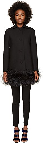Maribou Trim (Boutique Moschino Women's Maribou Trim Coat Black 42)