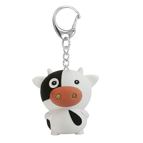 Kasien LED Key Chain, New Fashion Cute Lovely Cartoon Cow LED White Light Flashlight Keychain Keyring with Sound (Cow) ()