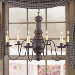 Maple Glenn Chandelier in Espresso w/Salem Brick