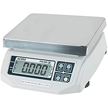 ACOM PW-200 Digital Portion Control Scale, Lb/Oz/Kg/g Switchable, Low Profile Design, 15lb Capacity, 0.005lb Readability, Single Display, NTEP Legal for ...
