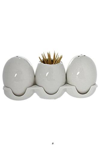 (White Porcelain Egg Salt & Pepper Shakers & Toothpick Holder In Egg Carton Caddy)