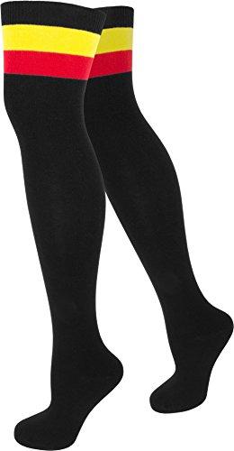 3 Paar Top modische Damen Overknees in verschiedenen Designs / Baumwolle mit Elasthan von normani® Schwarz mit Color-Bund