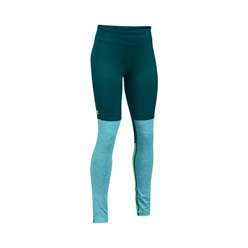 Under Armour Girls' Elevated Training Plush Leggings, Arden Green/Blue Infinity, Youth Medium