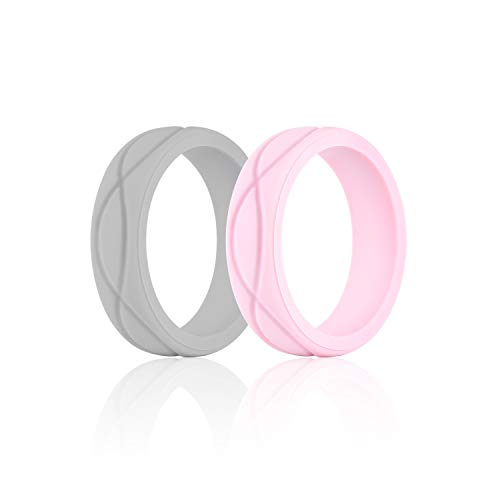 SANXIULY Womens Silicone Ring&Rubber Wedding Bands for Workout and Sports Width 5mm Pack of 2 Size 6 (Diamond Hammered Wedding Band)