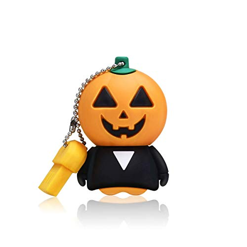 Halloween Pumpkin USB Flash Drive 16GB, MECO Thumb Drive USB 2.0 Funny Pumpkin Rubber Cartoon Memory Stick Halloween Thanksgiving]()