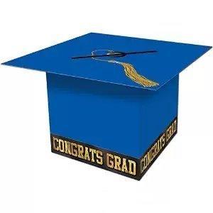 Grad Cap Card Box (Blue) Party Accessory (1 Count) (1/pkg) Pkg/1 (Accessories Party Graduation)
