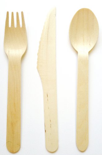 48pc Wooden Cutlery Set Biodegradable product image