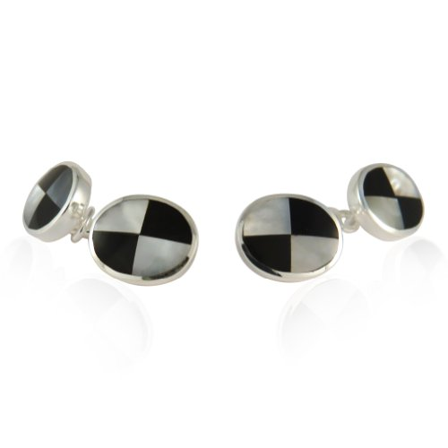 Sterling Silver Onyx Mother of Pearl Cufflinks with Presentation Box