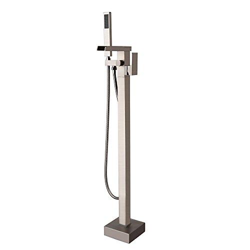 JiaYouJia Brushed Nickel Waterfall 1-Handle Freestanding Tub Filler Faucet & Handshower (Freestanding Waterfall)