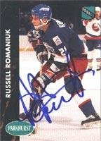 Russ Romaniuk Winnipeg Jets 1991 Parkhurst Rookie Autographed Card - Rookie Card. This item comes with a certificate of authenticity from Autograph-Sports. Autographed -