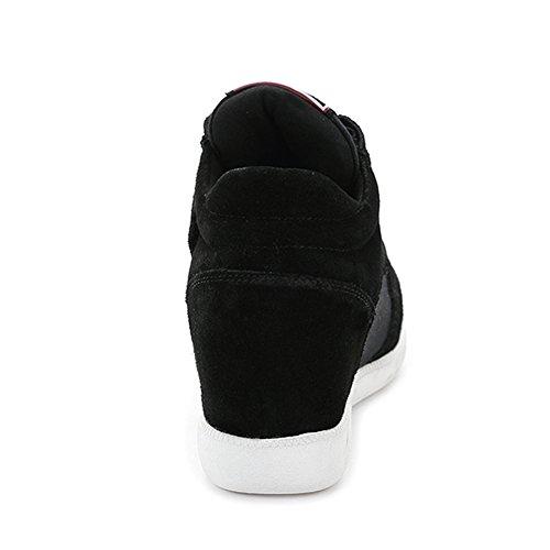 Shenn Mujer Clásico Medio Talón de Cuña Oculta Ante Alta Velcro Moda Zapatillas 5516 Negro