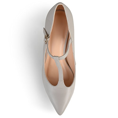 Journee Collection Mujeres Pointed Toe T-strap Bombas Gris
