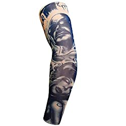 Funnygals Men Arm Warmers UV Protection Arm Support Cycling Golf Basketball Sport Tattoo Cover Arm Compression Sleeves