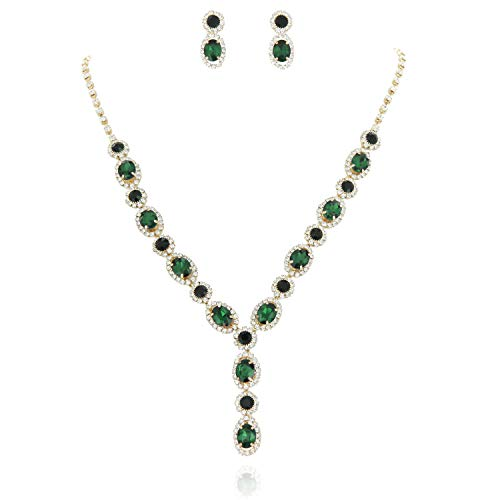 SP Sophia Collection Fancy Double Halo Y Jewelry Oval Drop Necklace and Earrings Set in Gold Green ()