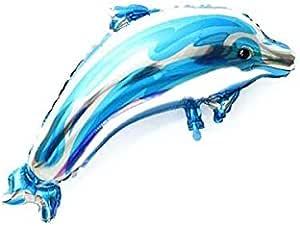 كبير دولفين فويل هيليوم بالون عيد ميلاد حفل زفاف عيد الميلاد لوازم الديكور هدية للأطفال لعبة مفضلة (أزرق)