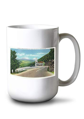 Lantern Press Stamford Valley, MA - Mohawk Trail Hairpin Turn and Observation Tower View (15oz White Ceramic Mug)
