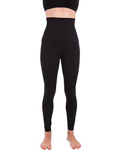 Fashion Waisted High - Homma Activewear Thick High Waist Tummy Compression Slimming Body Leggings Pant (X-Large, Black)