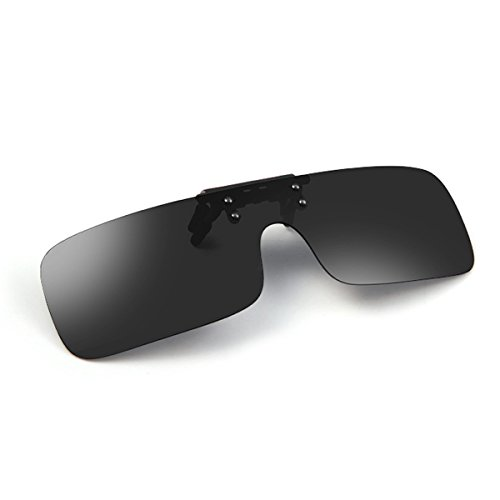 6023d2db96 Tacloft Rectangular Clip on Sunglasses 63MM Unisex Polarized Flip up  Sunglass Black