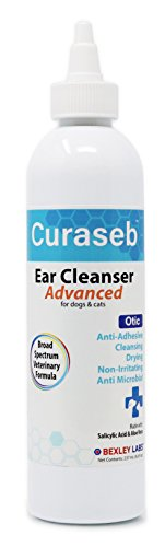 Curaseb | Otic Advanced Cat & Dog Ear Cleaner – Cleans, Dries & Eliminates Odor - Effective for Otitis Externa & Prevents Ear Infections, No-Sting Broad Spectrum Formula, #1 Vet Dog Ear Wash, 8 oz