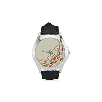 Colorido Peces Amarillo Tono Mujer Correa de Cuero Reloj de Moda Tendencia Muñeca Cómodo Relojes: Amazon.es: Relojes