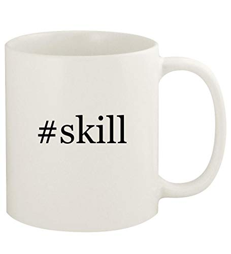 #skill - 11oz Hashtag Ceramic White Coffee Mug Cup, White (Corporate Soft Skills Training Games And Activities)