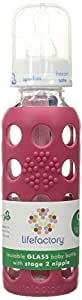 Lifefactory 9-Ounce Glass Baby Bottle with Silicone Sleeve and Stage 2 Nipple, Raspberry
