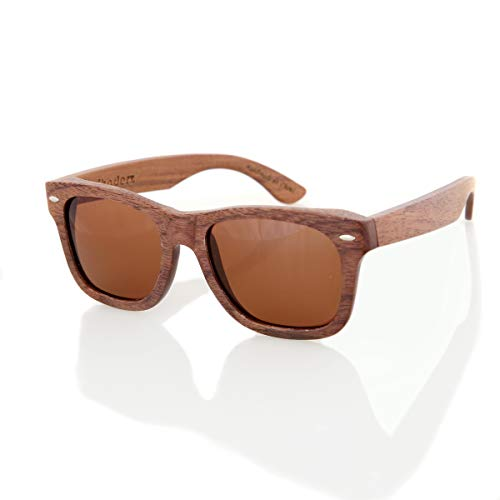 Walnut Wood Wooden Sunglasses by Shaderz - Vintage Retro Classic 100% Natural Eco Friendly Handcrafted Lightweight Frames - Pouch Included - ()
