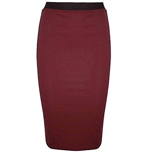 NEW WOMENS LADIES MIDI PENCIL PLAIN STRIPED BODYCON HIGH WAIST TUBE WIGGLE SKIRT Rojo