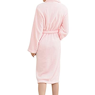 SJINC Women's Plush Fleece Bathrobe Shawl Collar Knee Length Lounge Kimono Robe