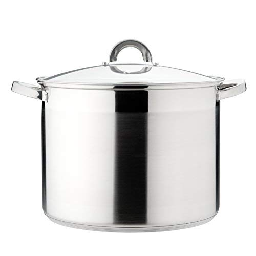 Melianda Ma 19000Stainless Steel Induction Stock Pot 15L (Cooking Pot with Glass Lid, Sauce Pan, 30x 23cm Steam Vent)
