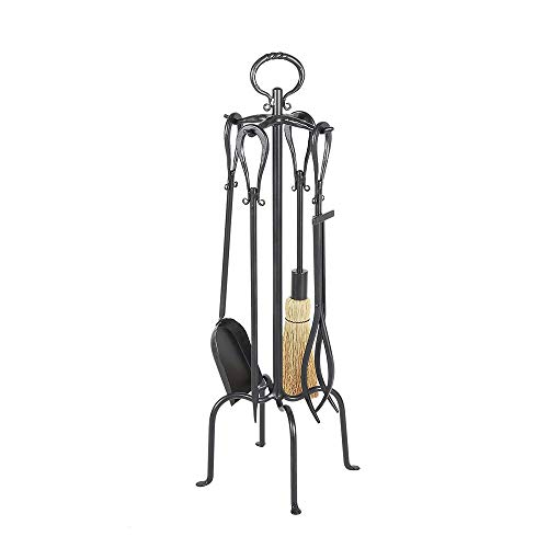 Minuteman International Loop 5-piece Wrought Iron Fireplace Tool Set, Graphite