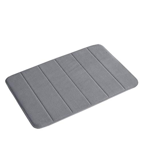 24″ x 17″ Microfiber Memory Foam Bath Mat Anti-Skid Bottom Non-Slip Quickly Drying Dove Gray Striped Pattern