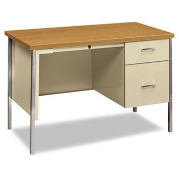 34000 Series Right Pedestal Desk, 45-1/4w x 24d x 29-1/2h, Harvest/Putty (34000 Series Right Pedestal)