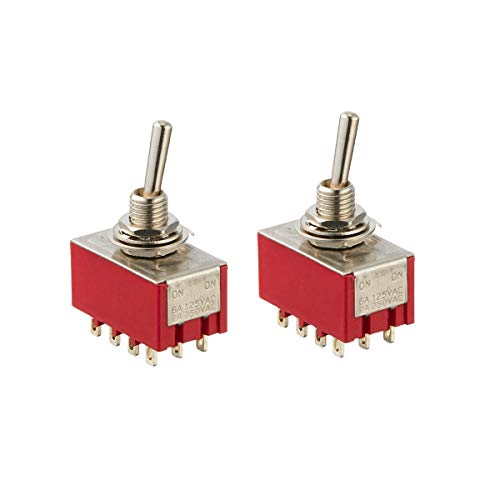 Auxcell 2 PCS 6A/125VAC 2A/250VAC 12 Pin 4PDT ON/ON 2 Position Mini MTS-402 Toggle Switch