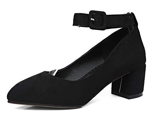 Tacco Fibbia Puro Mucca Flats FBUIDD006022 AllhqFashion Medio Ballet Donna Pelle di Nero YXqnxaw