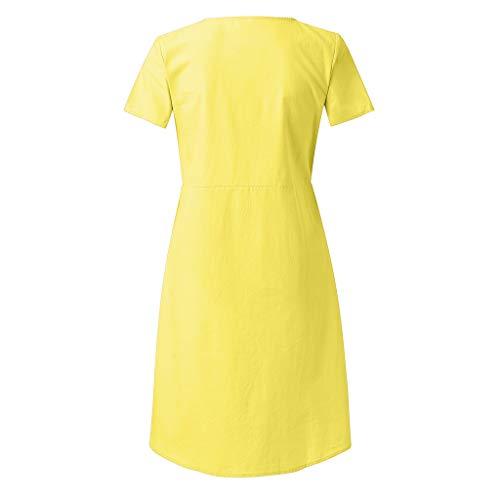 Pingtr - Damen Mutterschaft Kleid,Frauen Mutterschaft Mode Button Solid V-Ausschnitt Kurzarm Langes Kleid Gelb R9cte8nz Beste