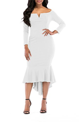 - onlypuff White Bodycon Dress Long Sleeve Midi Mermaid Sexy Off The Shoulder Dresses XXL