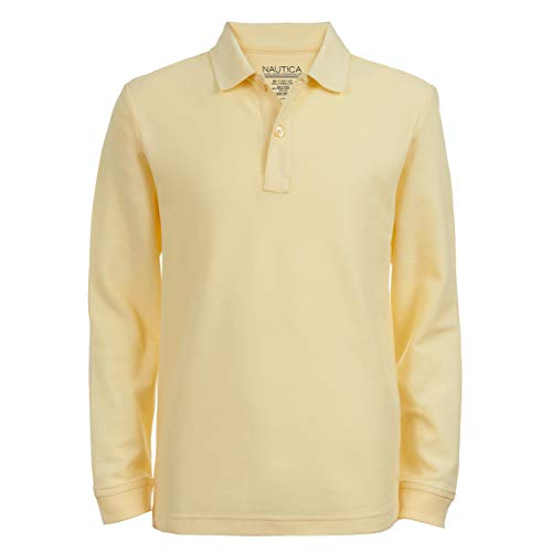 Nautica Big Boys School Uniform Long Sleeve Polo, Light Yellow, Large-14/16