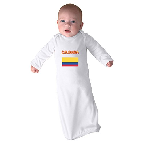 Cute Rascals Love Heart Colombia Soccer Ball Soccer Infant Baby Combed Ring-Spun Cotton Sleeping Gown - White, Gown & Hat Set by Cute Rascals