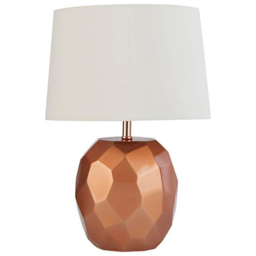 Rivet Copper Geometric Bedside Table Desk Lamp With Light Bulb - 11.5 x 11.5 x 16.8 Inches, Copper