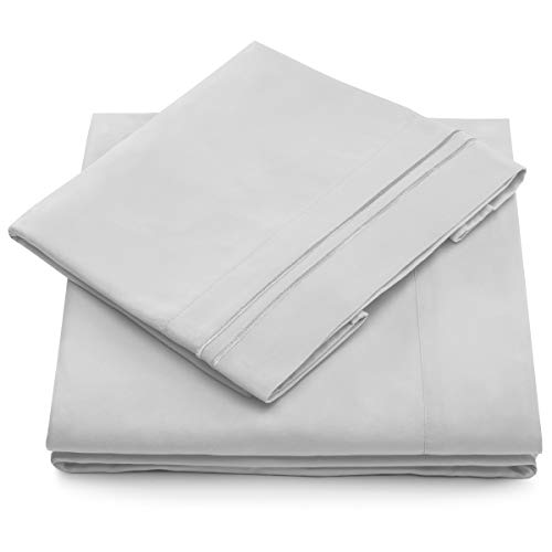 (Cosy House Collection 1500 Series Bed Sheet Set - Super Soft Hotel Luxury Bedding - Wrinkle, Stain & Fade Resistant - Hypoallergenic - 4 Piece (Queen, Silver))