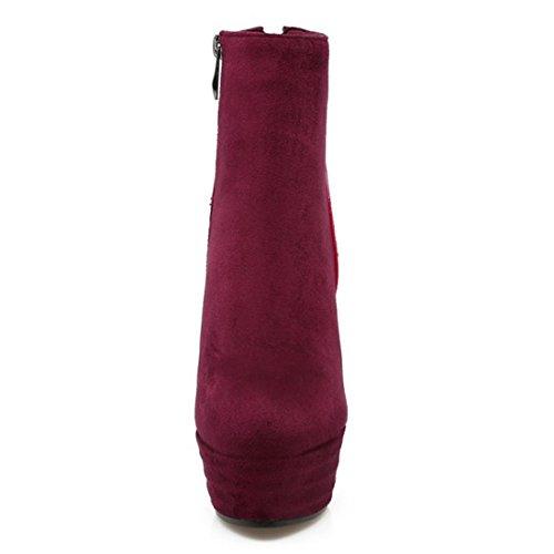 YE Damen Plateau Ankle Boots Blockabsatz Glitzer Stiefeletten mit Reißverschluss und Pailletten 13cm Absatz Elegant Schuhe Rot