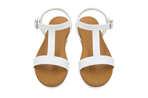 - Sara Z Ladies PCU Sandal with Side Buckle 7/8 White